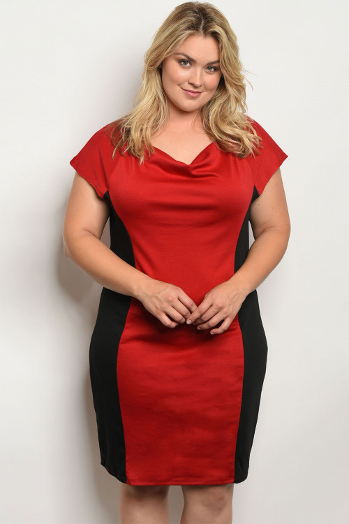 Trendy Plus Size Cap Sleeve Black & Red Dress (41-34) 0 star rating Write a  review
