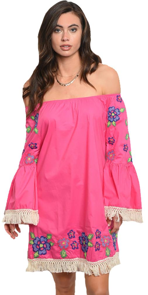 6c2ac08380 Off Shoulder Boho Embroidery Fuchsia Dress (42-4) - 5dollarfashions.com