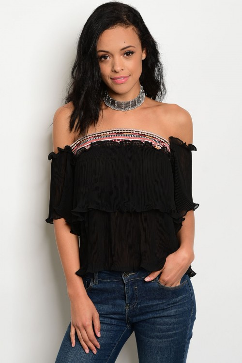 Black Off Shoulder Tribal Accent Chiffon Ruffle Top (42-11)