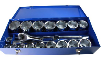 "1"" Drive Socket Set, 21 pc"