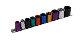 "Socket Set - 10 Piece 3/8""  Drive - Multi-coloured"