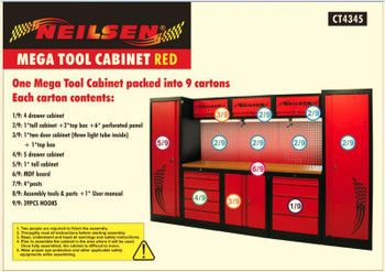 Mega Tools Cabinet Red & Black