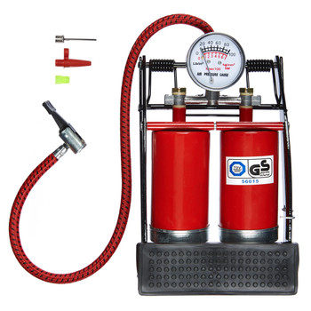 Double Cylinder Footpump With Gauge