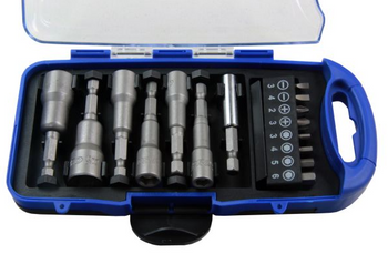 "15PC 1/4"" DR NUT DRIVER & BIT SET"