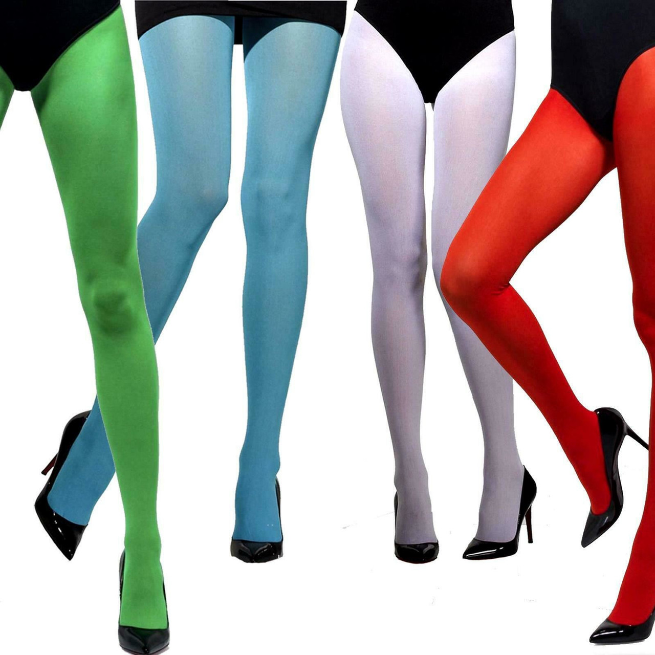 Green Smiffys Fancy Dress Costume Adult Womens Opaque Tights