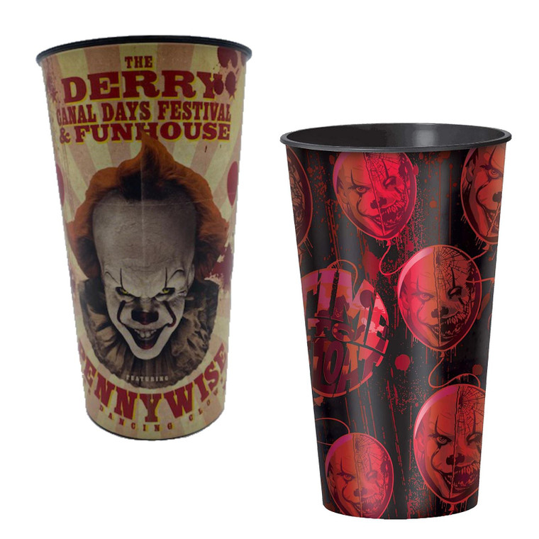 x2 IT Chapter 2 Pennywise & Red Balloon Cups Bundle Party Halloween Tableware