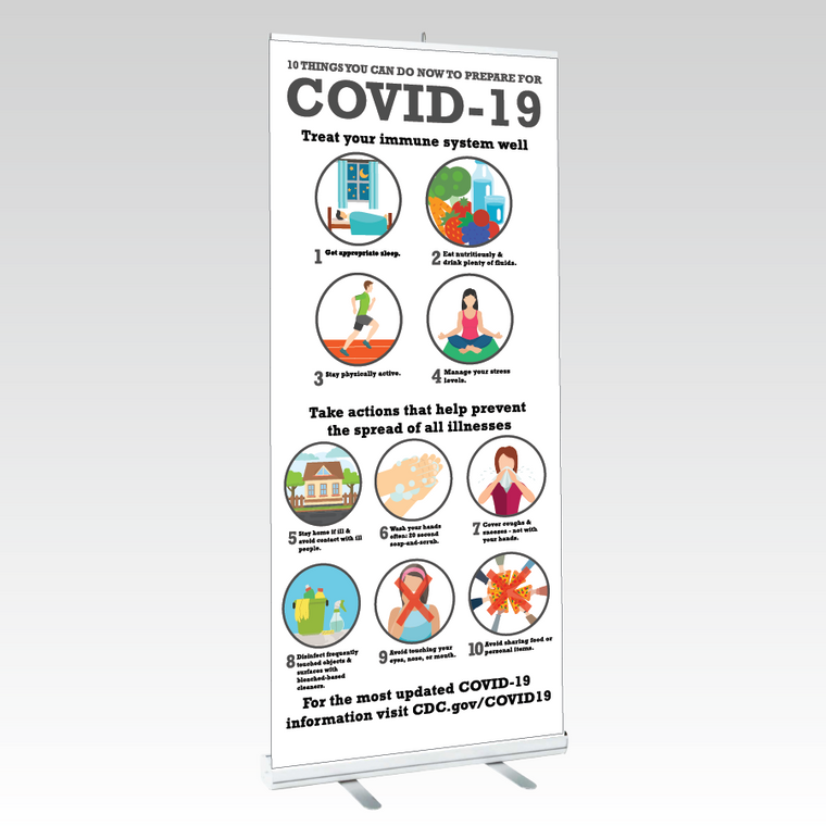 Pop-Up Retractable Banner Information on Covid-19