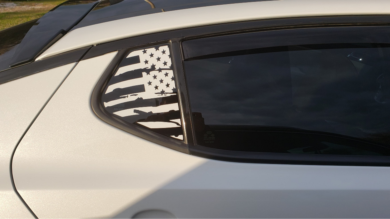 KIA Optima with American Flag Decal