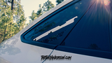 Distressed Quarter Window Flag with Thin White Line installed on Ford Focus Sedan