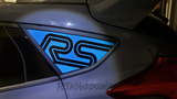 Light Blue Ford Focus RS Quarter Window Decal on Stealth Gray