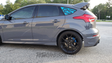 Ford Focus RS Quarter Window Decal shown in Light Blue on Stealth Gray