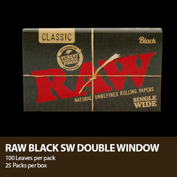 RAW CLASSIC NATURAL GUM BLACK ROLLING PAPER KING SIZE SLIM 32-LEAVES per PACK