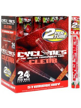 CYCLONES PRE-ROLLED CLEAR CIGAR TUBE - STRAWBERRY