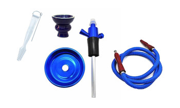 Single Hose Hookah Bottle Top Adapter Blue
