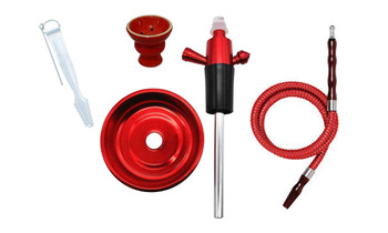 Single Hose Hookah Bottle Top Adapter Red