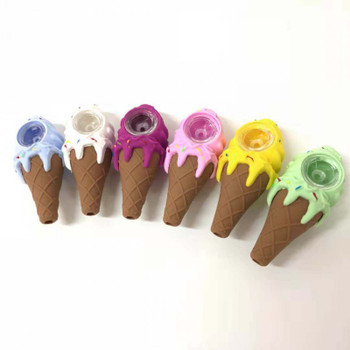 Ice Cream Cone 4.5 Silicone Hand Pipe Glass Bowl