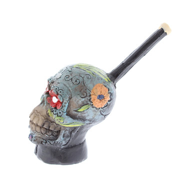 "4"" Wood Finish Ceramic Hand Made Handheld Pipe Sugar Skull"