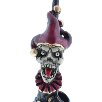 "5"" Wood Finish Ceramic Hand Made Handheld Pipe Scary Joker"