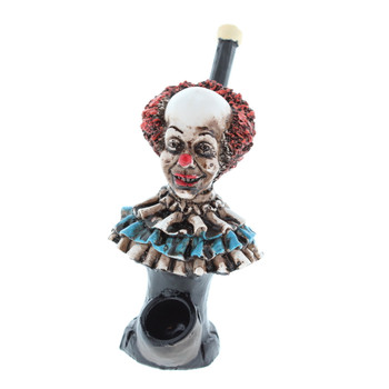 "4"" Wood Finish Ceramic Hand Made Handheld Pipe Scary Clown"