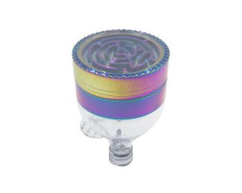 63mm RAINBOW Funnel Shape Zinc Alloy 3-layers Herb Grinder
