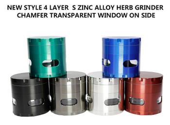 SIDE WINDOW GRINDERS CONCAVE SIDE HERB GRINDER 55mm ZINC ALLOY METAL SHARPSTONE TOBACCO CRUSHER