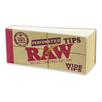 RAW Perforated Wide Hemp Tips - Single Pack (50count)