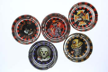 Slick Skulls Glass Ashtray 6-Pack Combo Box