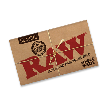RAW NATURAL SINGLE WIDE SIZE ROLLING PAPERS - DOUBLE FEED -100per pack