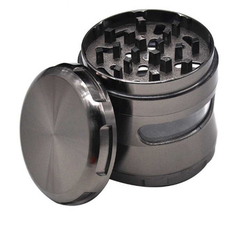 Aircraft Aluminum Herb Grinder With Spice Case 63MM 4 Piece Big Window Style Metal Tobacco Grinders