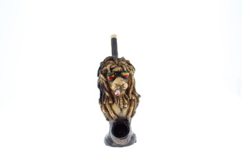 "5"" Wood Finish Ceramic Hand Made Handheld Pipe Rasta Lion"