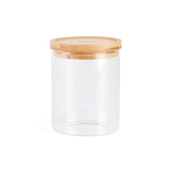 MEDIUM GLASS CANISTER WOODEN TOP