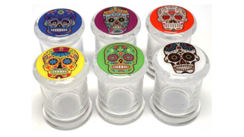 SUGAR SKULL DESIGN POP TOP GLASS JAR