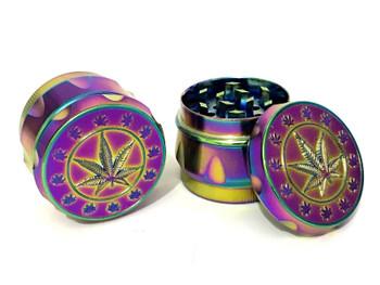 4 Part 40mm Grassleaf Rainbow Shiny Dazzle Colour Metal Herd Tobacco Grinder