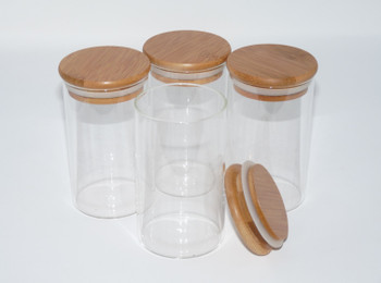 10 oz. Borosilicate Glass Jar w/ Wooden Top Suction Seal Lid