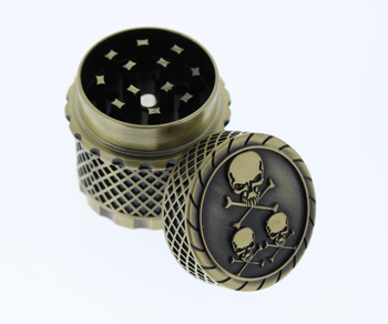 4 LAYER METAL SKULL & BONES TOBACCO  & HERB GRINDER