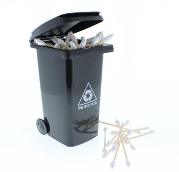 Mini Trash Can Cotton Swab Storage / Garbage Bin - Black