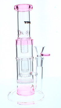 Pink 4 Perc Water Pipe with Ice Catcher