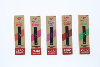 Law Disposable Vape Pen : Nicotine Free Variety 5 Pack