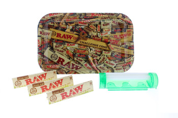 RAW Challenge Cone 7 x 11Rolling Tray with King Size Slim Organic Papers & 4 in 1 Roller