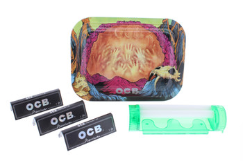 "OCB 5.5"" x 7.4"" Early Man Rolling Tray, 150 Papers & 4 in 1 Roller"