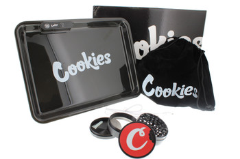 Glow Tray x Cookies LED 7 Color 11 x 8 Rolling Tray & 4 Level Grinder Gift Kit - Black