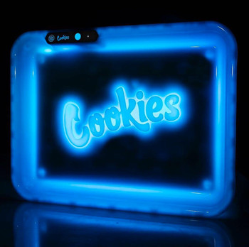 Glow Tray x Cookies LED 7 Color 11 x 8 Rolling Tray & 4 Level Grinder Gift Kit - White