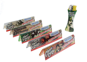 Cheech and Chong Unbleached King Size Rolling Papers 5 Pack with Lighter