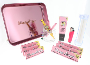 Blazy Pink Rolling Tray with Accessories Kit - 11 Piece Gift Kit