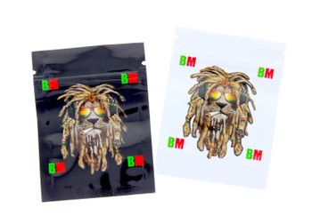 Small Black and White Lion Seal Proof Bags - 10pack