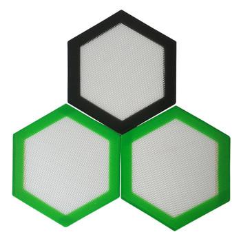 Silicone Dab Mat - 5.5x5 -Mini Silicone Mat Hexagon Orange and White