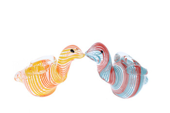 "4"" Multi Colored Swirl Swan Tobacco Pipe"