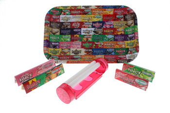 Juicy 7 x 11 Rolling Tray with 4 in 1 Roller & Assorted Rolling Papers - Small Kit