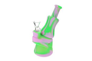 """7"""" Pink Green Pattern Peak Design Silicone Bong"""