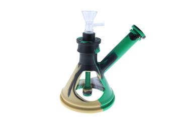 "6"" Silicone Glass Hybrid Beaker Bottom Water Pipe Black, Tan, Green"